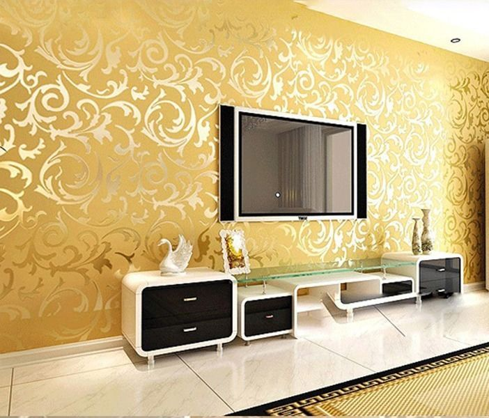 10M Luxury Fashion Wall Paper Damask Embossed Textured PVC Wallpaper Roll 4Color