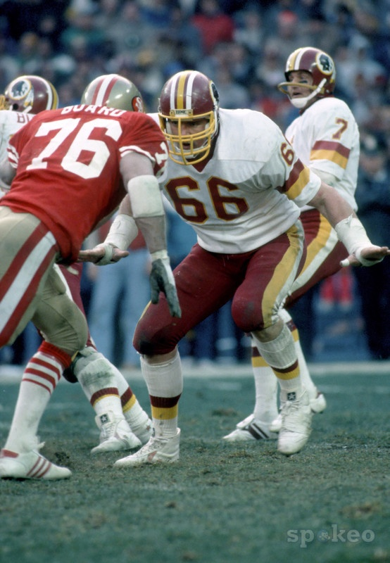 January 1, 1984: Washington Redskins tackle #66 Joe Jacoby in action against the San Francisco 49ers at RFK Stadium.