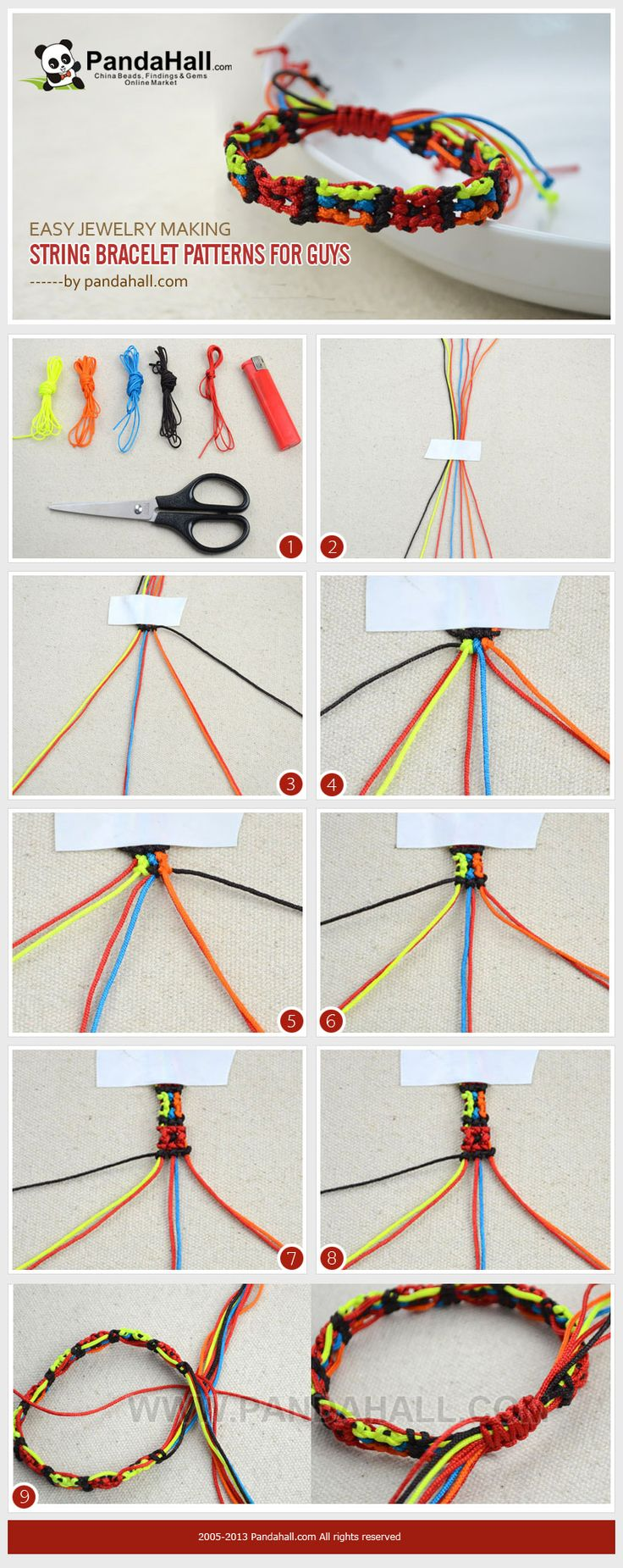 This Tutorial Aims At Introducing You An Easy Jewelry Making Pattern   Square Mosaic String Bracelet Pattern For Guys! It Is A Special Pattern For  Male ...