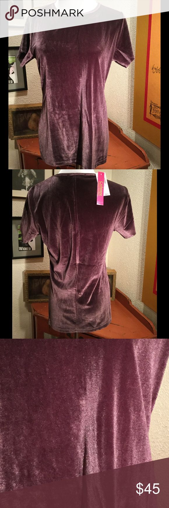 Raspberry Velvet Tee ‼️Final Price‼️ Delicious fit and color! Fantastic with jeans, under a blazer or with a skirt. Great stretch but a looser comfy fit. Catherine Malandrino Tops