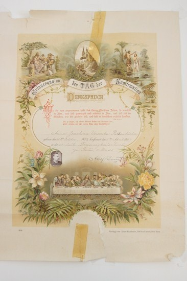 Antique German Birth Certificate or Baptism Confirmation ...
