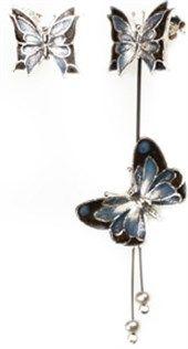 Σκουλαρίκια - Χειροποίητο κόσμημα,  σκουλαρίκια πεταλούδα ασημένια 925ο με σμάλτο.
