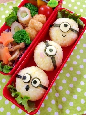 ♪ rice ball lunch of simple character valve ☆ minion