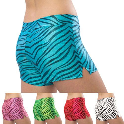 $34.99 nice Pizzazz Black Multi Color Zebra Glitter Dance Cheer Shorts Adult S-2XL
