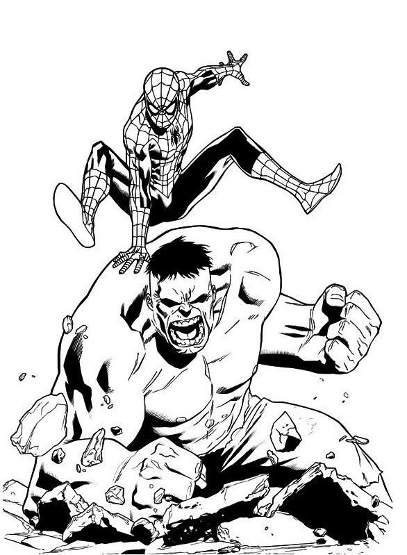 Hulk And Spiderman Coloring Page For Kids