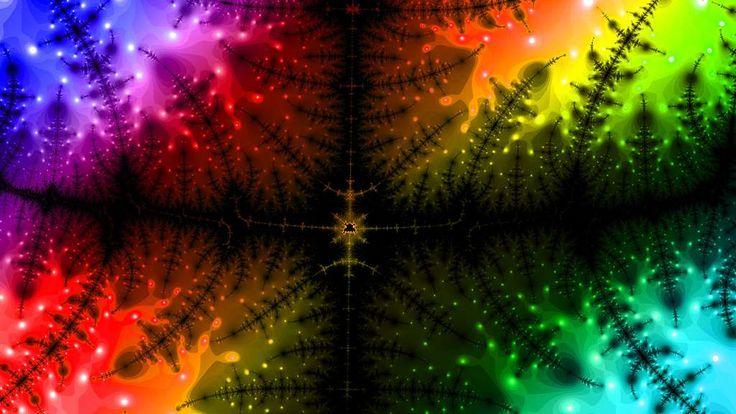 Avec ses couleurs vives et psychédéliques, cette fractale semble tout droit sortie de l'univers de Pink Floyd. La figure géométrique sombre ressemble à des branches épineuses de sapin. ©...