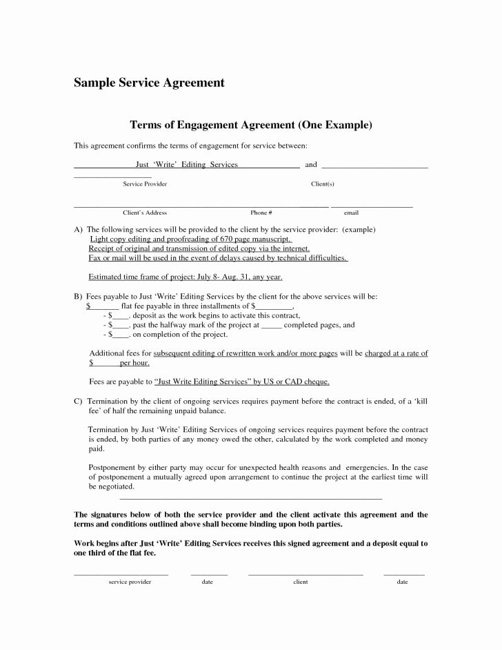 Free Service Contract Template Luxury Service Agreement Template
