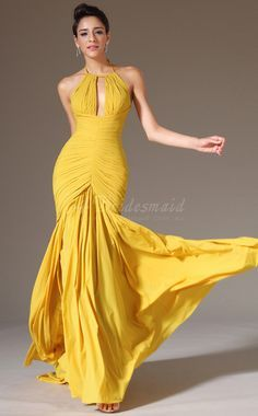 Chiffon Halter Long Yellow Bridesmaid Dress -JT1403