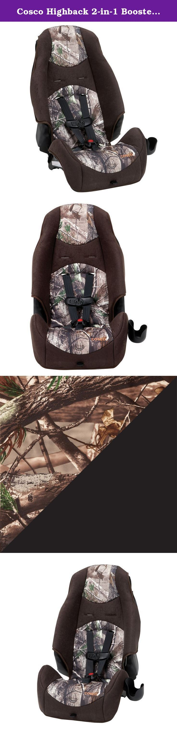 Cosco Highback 2-in-1 Booster Car Seat, Realtree. Get a car seat that lasts. 2 car seats in 1, the Cosco High back 2-in-1 Booster Car Seat takes your child through two different stages for extended value. Use the 5-point harness for smaller kids and then convert to a belt-positioning booster for bigger kids. The High back 2 in 1 is LATCH equipped when you use the five-point harness and adjusts from the front, making it easier to get a snug fit. When your child gets bigger, remove the…