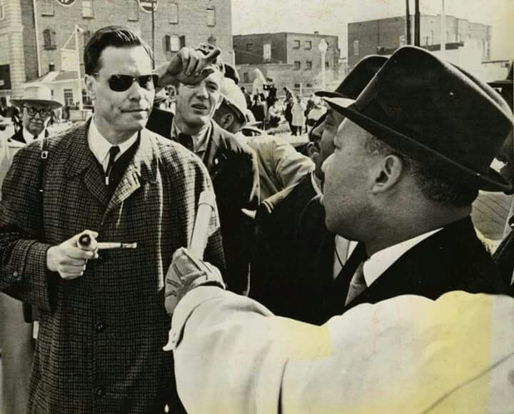 American Nazi Party leader George Lincoln Rockwell confronting Martin Luther King, Jr., 1965.