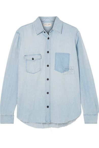 ced5047bfc1 Saint Laurent - Distressed Printed Denim Shirt - Light denim ...