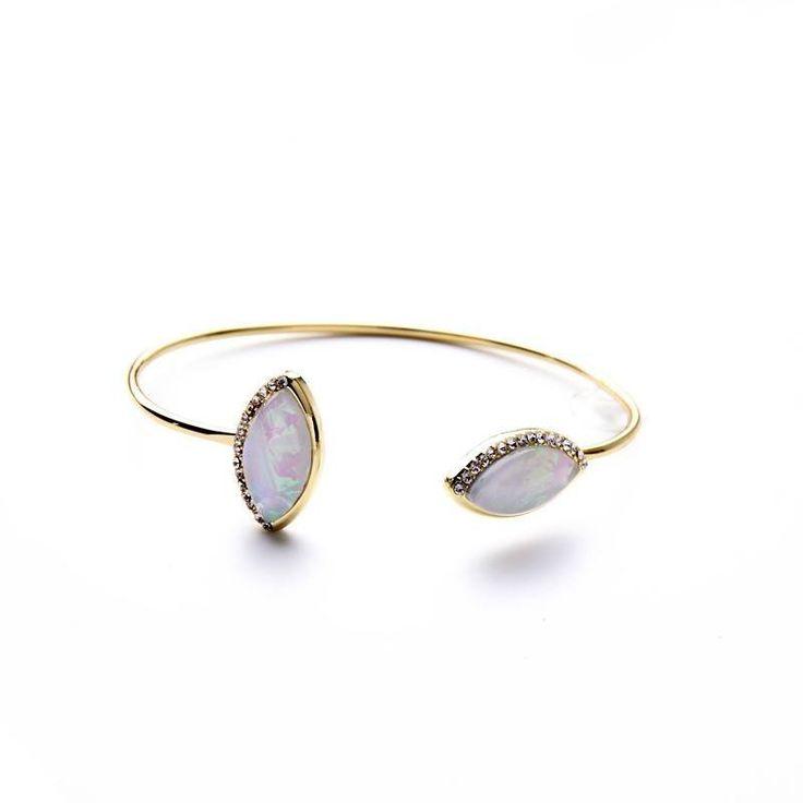 Fashion Bangle - Varsenig Gold Plated Cuff Bangle With Resin Stone