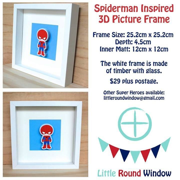 Handmade by Little Round Window  Spiderman Inspired 3D Picture Frame