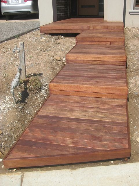 Merbau decking box steps concrete walkway walkways and for Front entry decks
