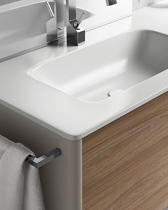 Love the beautiful craftsmanship and modern design of this Dress 2.0 sink and cabinet by Mastella
