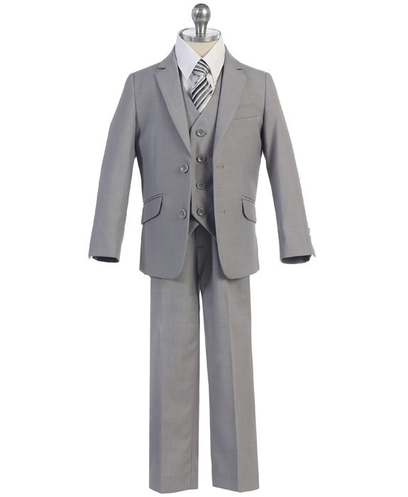 boys 5 piece essential grey suit