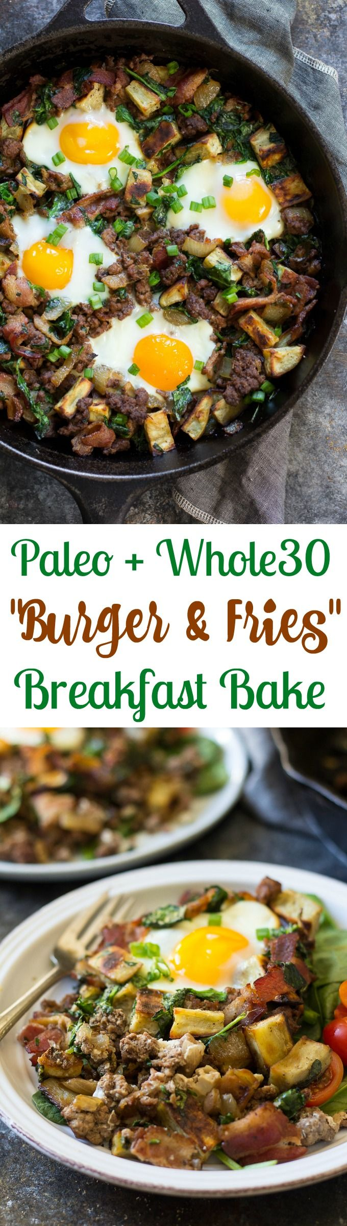 "This ""bacon burger & fries"" Paleo breakfast bake combines savory, crispy bacon, grass-fed ground beef and crispy sweet potatoes with greens and baked eggs. Whole30 friendly, good for any meal, gluten free, dairy free."