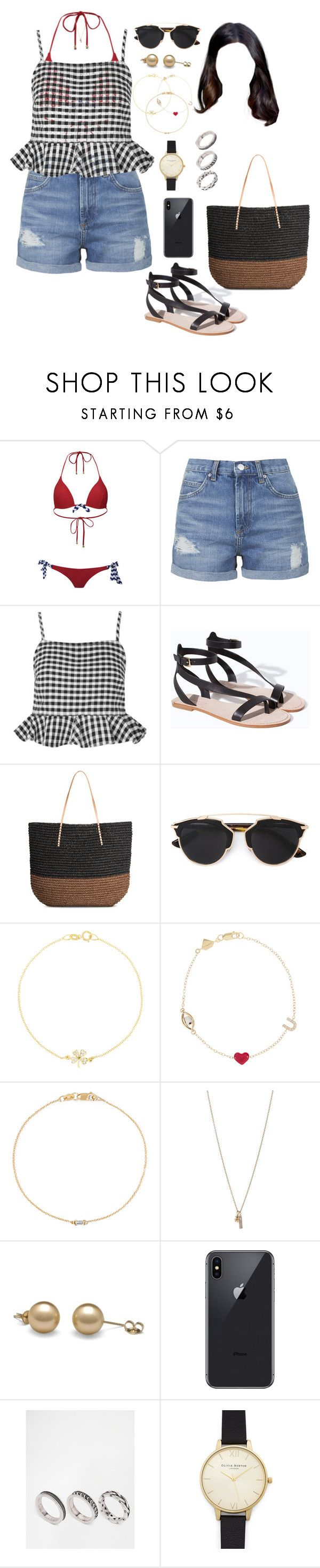 """""""SLS (day/out/beach)"""" by ittgirl ❤ liked on Polyvore featuring South Beach, Topshop, Zara, Christian Dior, Jennifer Meyer Jewelry, Alison Lou, Ileana Makri, Minor Obsessions, ASOS and Olivia Burton"""