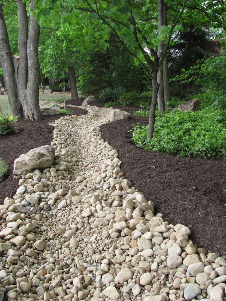 Rain garden river rock channel.
