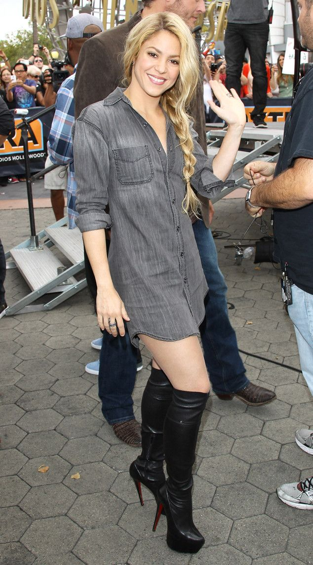 #Shakira from The Big Picture: Today's Hot Pics | E! Online - Her hips don't like, and neither do those boots, which the Voice coach sexily shows off during an Extra taping. Michael Tran/FilmMagic Check more at http://sweethearts101.com