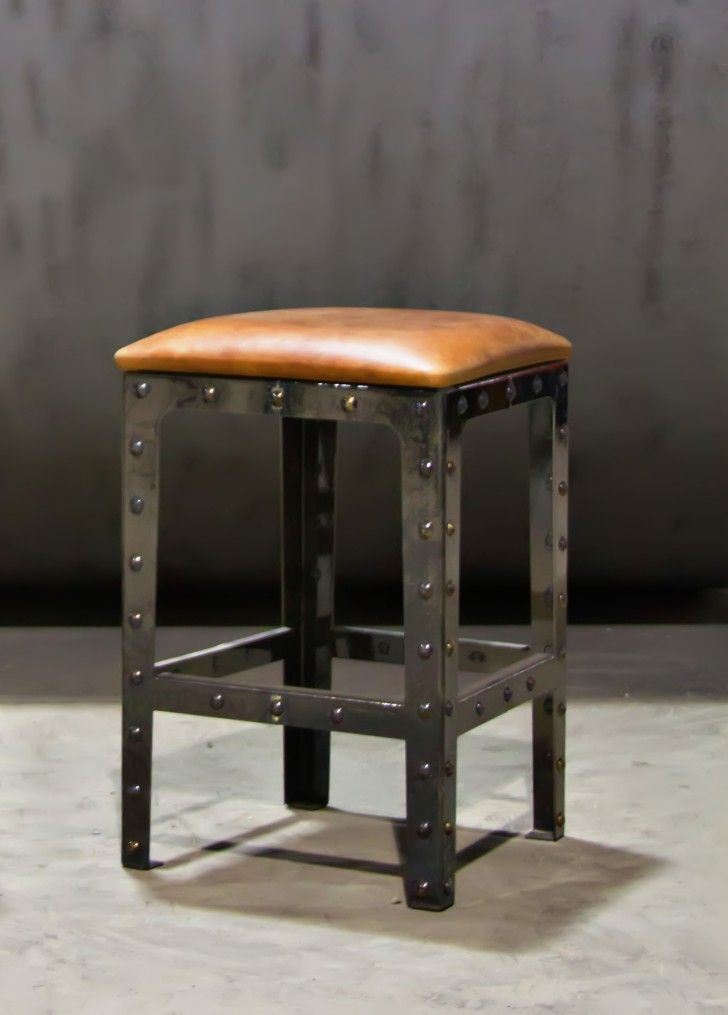 Awesome Furniture. Square Stainless Steel Bar Stool With Brown Leather Seat And  Footrest On The Floor