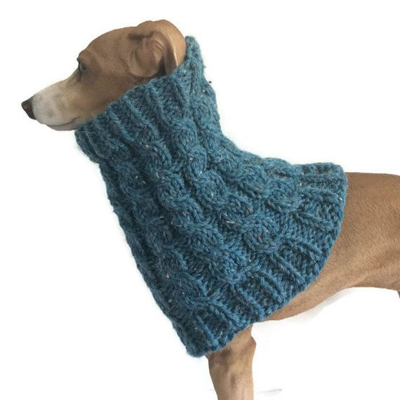 Blue Alpaca mix Greyhound Snood lurcher cowl whippet neckwarmer dog scarves puppy scarf dog snood dog muffler dog clothes, dog clothing, pet