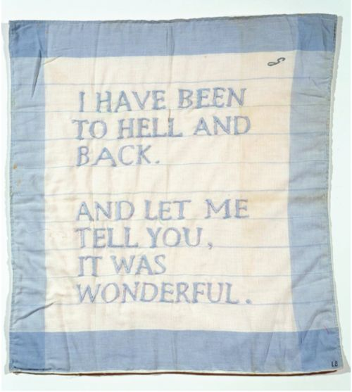 """This is a wonderful way to look at 'been to hell and back."""" (quilt made by Louise Bourgeois 1966.)  <3"""