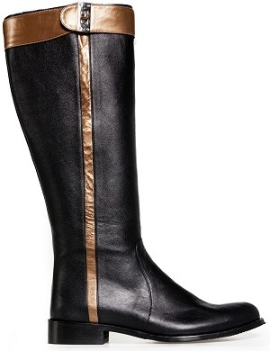 Boot long flat black leather gold
