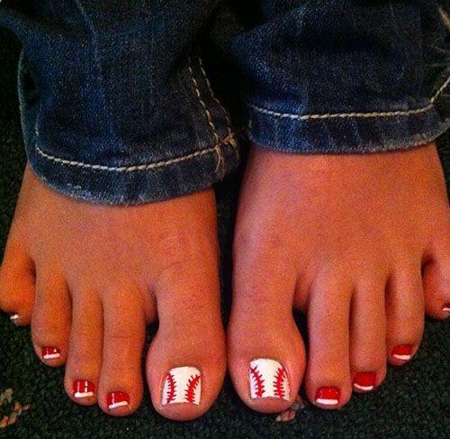 baseball nail designs | Baseball toenails