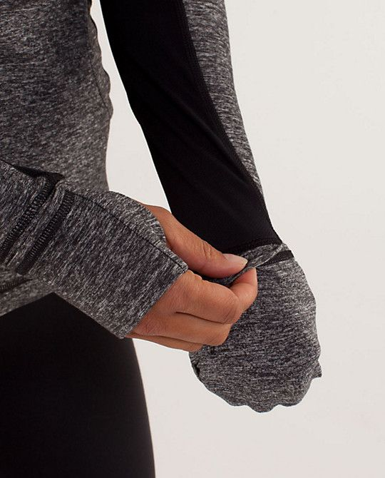 Cuffins!  Love!  They fold over to cover your fingers and thumb when you're running!  This is a must-have feature for all my cold weather running tops.  (pic from Lulu's Star Runner Pullover)