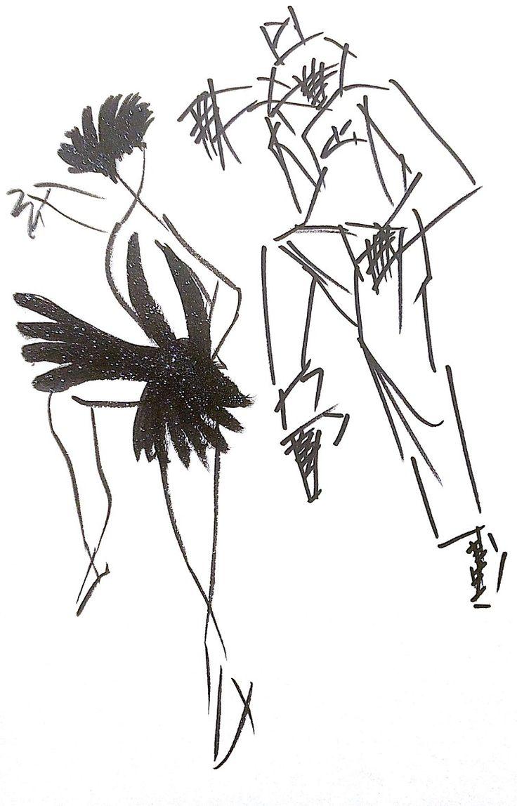 같은 춤동작을 짓고 있는 남녀를 다른 느낌의 선으로 표현해보았다.