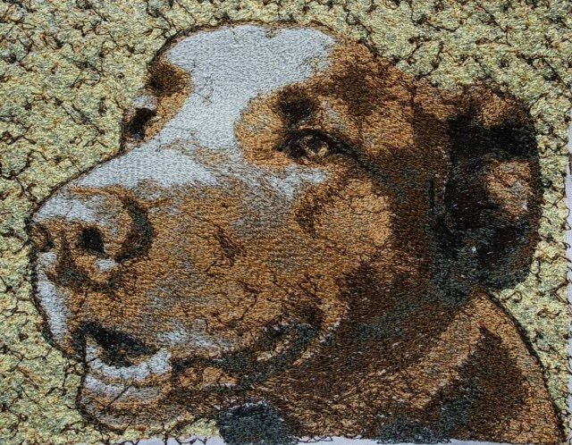 Meet Bentley - an embroidered pet portrait. Commissions taken, just email us a high resolution image in jpeg format for a free no-obligation quotation. info@thehebrideandesigncompany.com