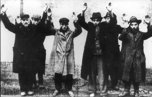 Warsaw, Poland, Jewish men raising their hands as a sign of surrender, Origin: Walter Kostecki