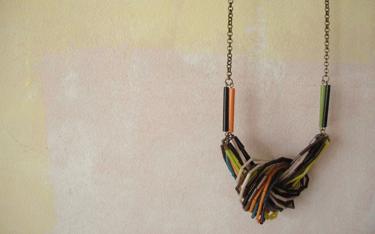 Tari.  Handmade recycled glass beads on copper chain.