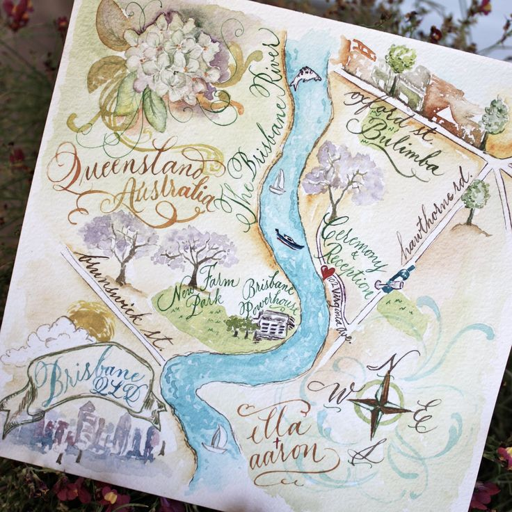 Gorgeous hand painted and lettered map for wedding.: Watercolor Maps, Wedding Maps,  Hankey, Cute Ideas, Wedding Invitations,  Hanky, Maps Invitations, Australia Maps, Custom Calligraphy