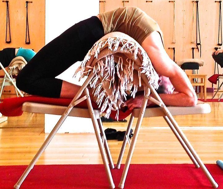 Kapotasana prep with a chair and blanket (Iyengar Yoga)