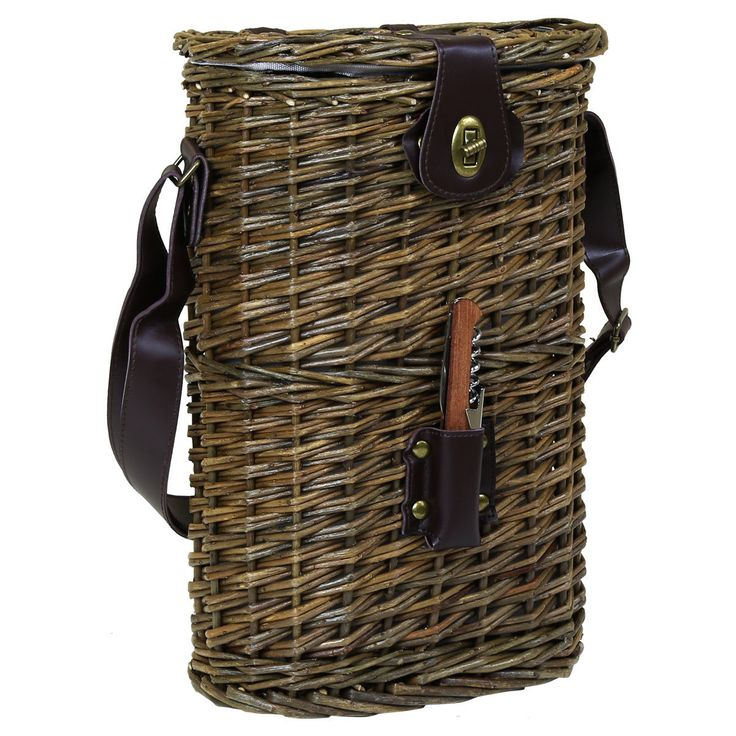 Charles Bentley Picnic Wicker Brown Bottle Cooler Bag Wine Carrier With Strap | eBay