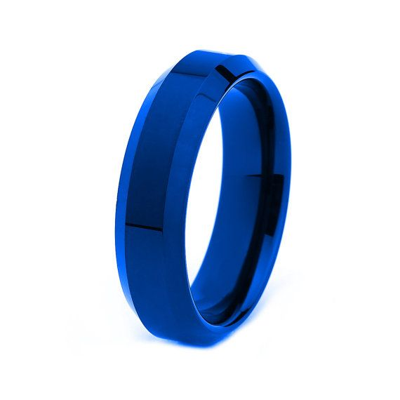 Blue Tungsten Ring Red Men Tungsten Rings Red By GiftFlavors 19777