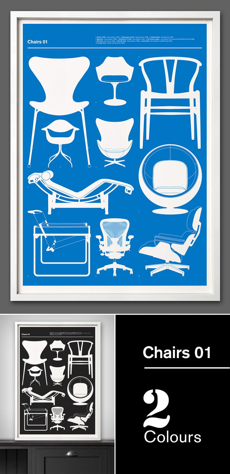 New print launched today - 'Chairs 01' - 67 Inc The third in our new 'Blueprint' series 'Chairs 01' is a representation of ten of the most iconic designer chairs from the 20th Century. Design classics from Arne Jacobsen, Eero Sarinen, Hans Wegner, Le Corbusier, Eero Aarnio, Marcel Breuer, Don Chadwick and Charles and Ray Eames. We picked some of the most recognisable profiles in furniture design, Egg chair, Ball chair, Wassily chair, Tulip armchair.