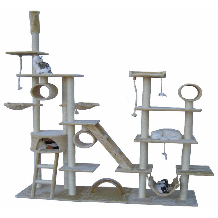 Pamper your feline with this stimulating cat tree. The sprawling shape spreads across multiple levels. It has areas pets can use for resting or climbing, plus plenty of surfaces they'll love to scratch instead of using their claws on your furniture.