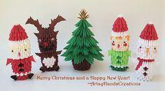 3D Origami Santa Claus. 3d Origami Reindeer. 3d Origami Christmas Tree, 3d Origami Elf. 3d Origami Snowman. 3d Origami Christmas Ornaments.