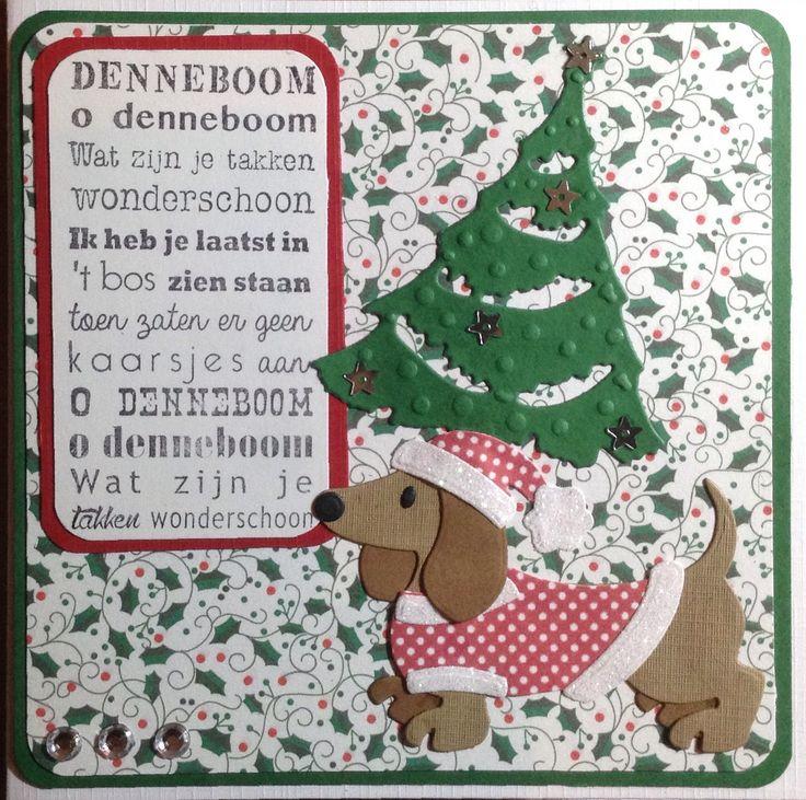 Kerstkaart #34 met teckel van Marianne Design