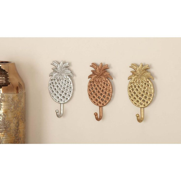 4 in. x 7 in. Tropical Iron Pineapple Wall Hooks in Gold, Silver or Bronze Finish (3-Pack), Multi