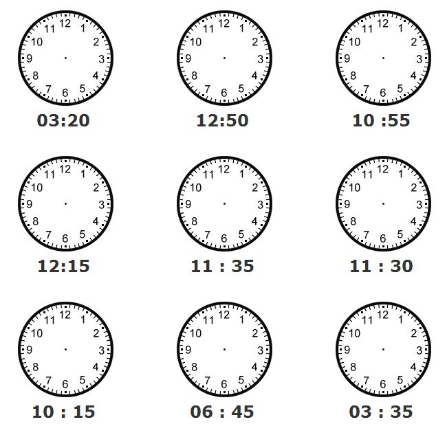 teachers worksheets clocks pics | Directions: Draw the hands of the clock as they should appear for the ...