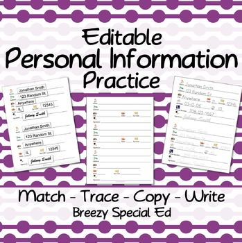These forms offer a realistic way to practice the most essential personal information, such as name, address, birthday, age, and others. I choose one form for each student and make multiple copies (or laminate) and keep in their binder for morning work and if they have down time.