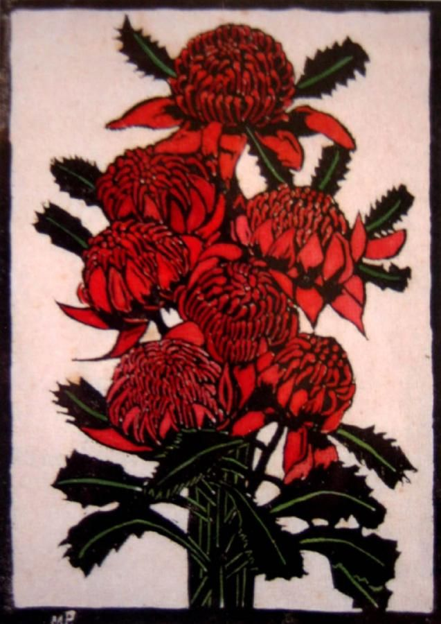 Waratahs Handcoloured woodblock (2nd proof), 42.5 x 30 cm by Margaret Rose (MacPherson) Preston (1875-1963) Australia