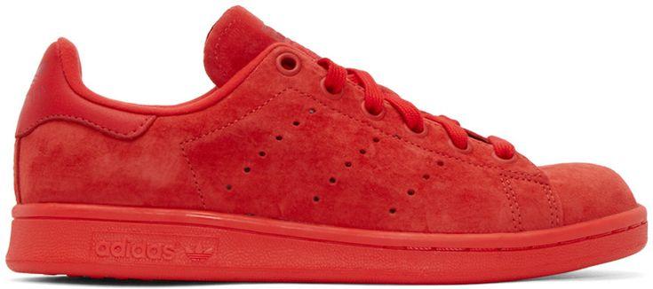adidas Originals - Red Suede Stan Smith Sneakers