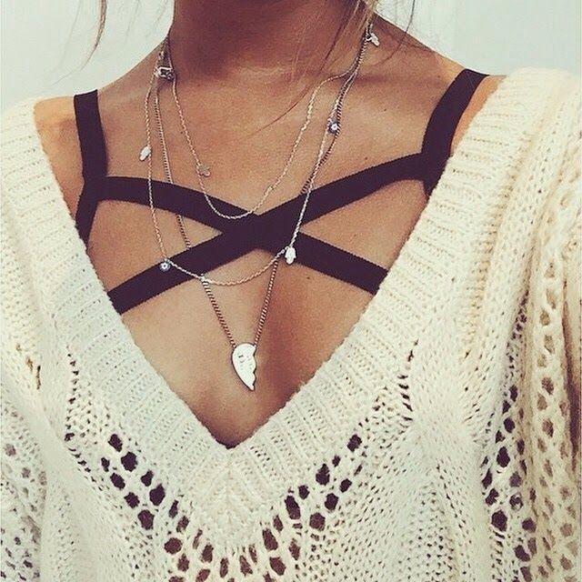 cross body bra + sweater