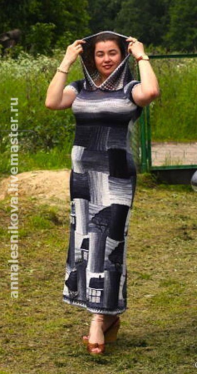 """Купить Платье """"Домики"""" хлопок, цвет темная джинса - платье, вязаное платье, авторское платье"""