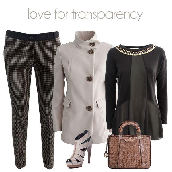 Vedo o non vedo? Delicate trasparenze per un look glamour! Shop now!  Pantaloni ---> http://bit.ly/1sGMgtn Blusa ---> http://bit.ly/1tffP0N Cappotto ---> http://bit.ly/1nz7Z5U Borsa ---> http://bit.ly/1Ctk1RM